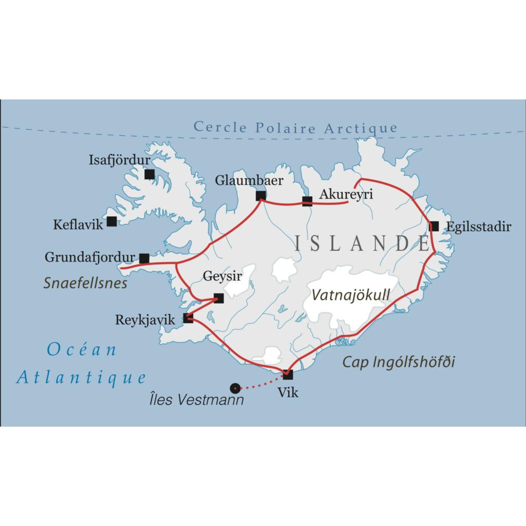 Carte circuit tour Islande
