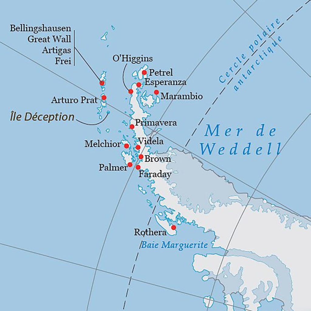 Carte croisière polaire Antarctique