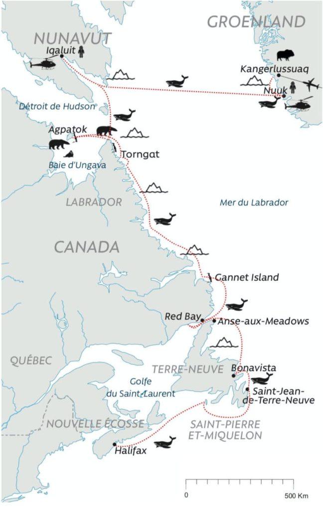Carte - Groenland à Saint-Pierre-et-Miquelon