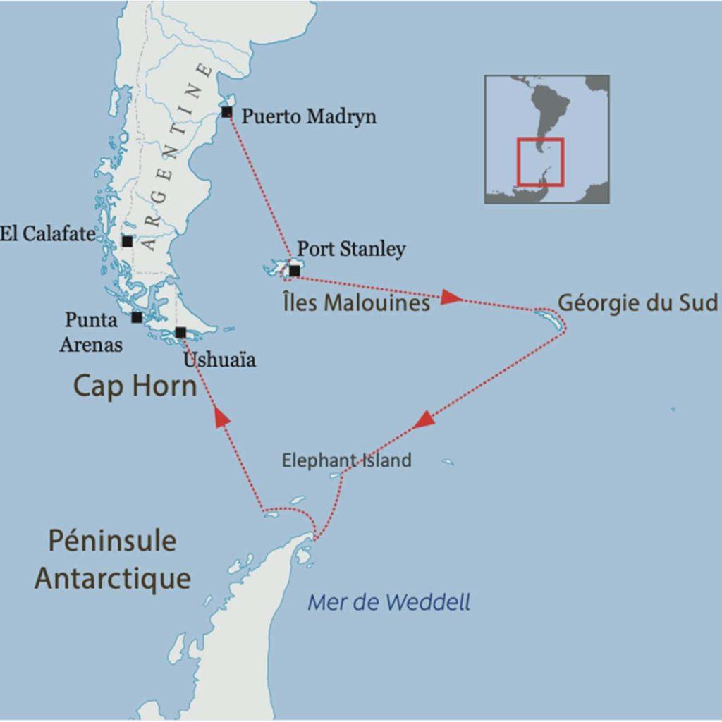 Carte - Croisière en Antarctique