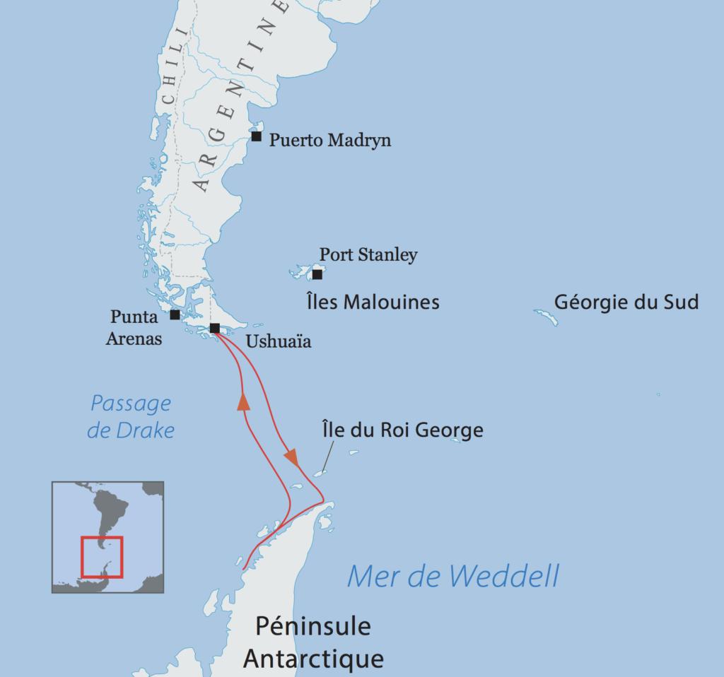 Carte Itinéraire Péninsule Antarctique Ortelius