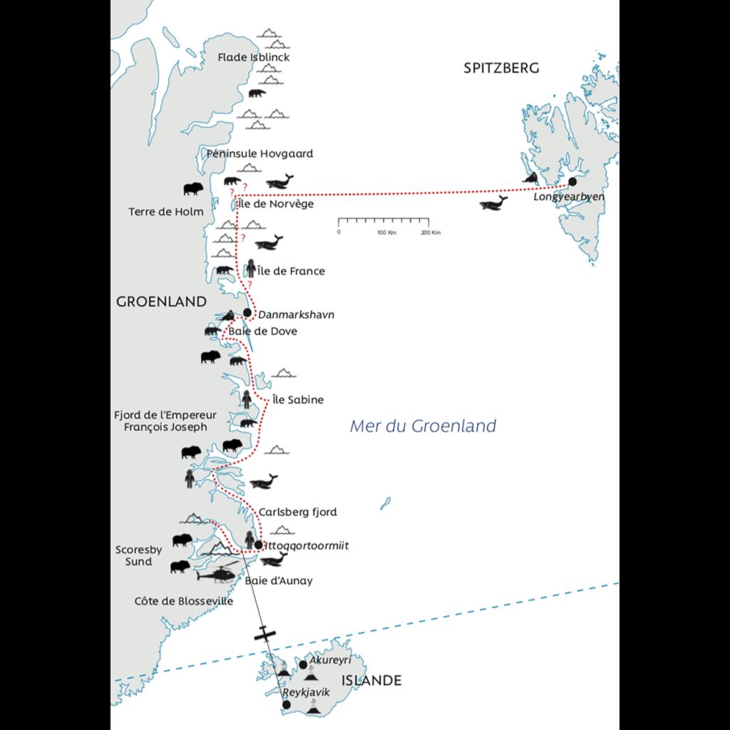 Carte itinéraire Groenland Parc National