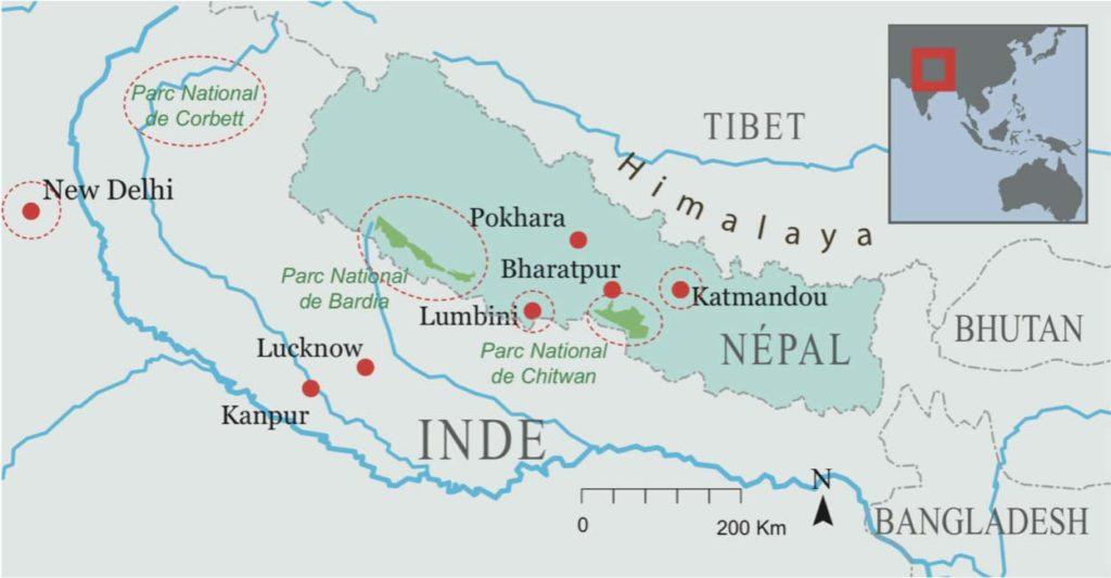 Carte Népal et Inde