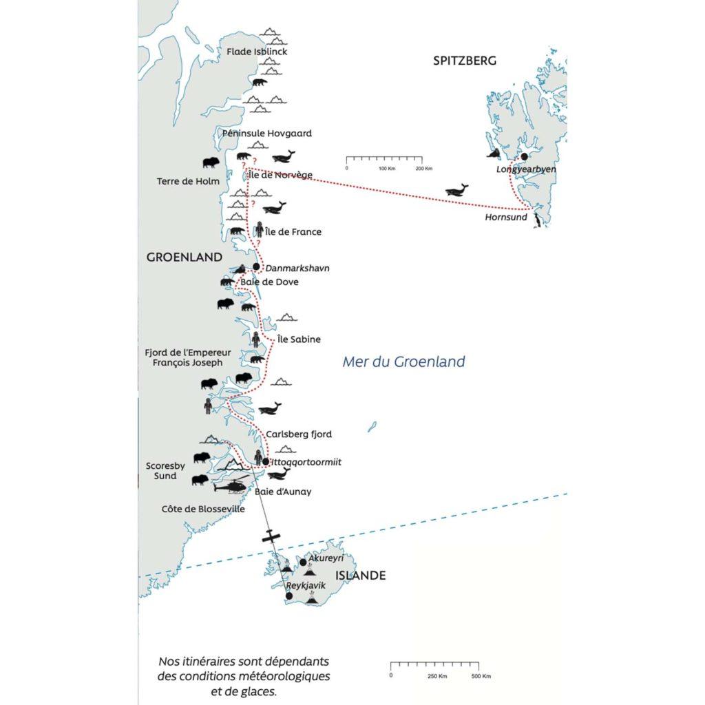 Carte - Grande croisière Spitzberg Groenland - Nanook