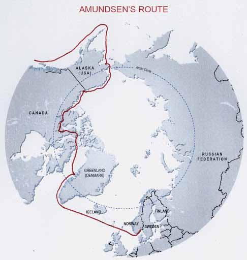 Carte Passage du Nord Ouest Amundsen