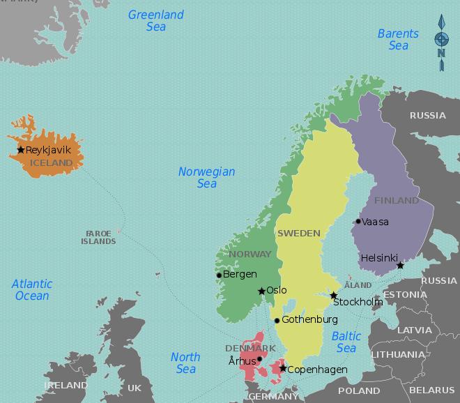 Carte pays nordiques