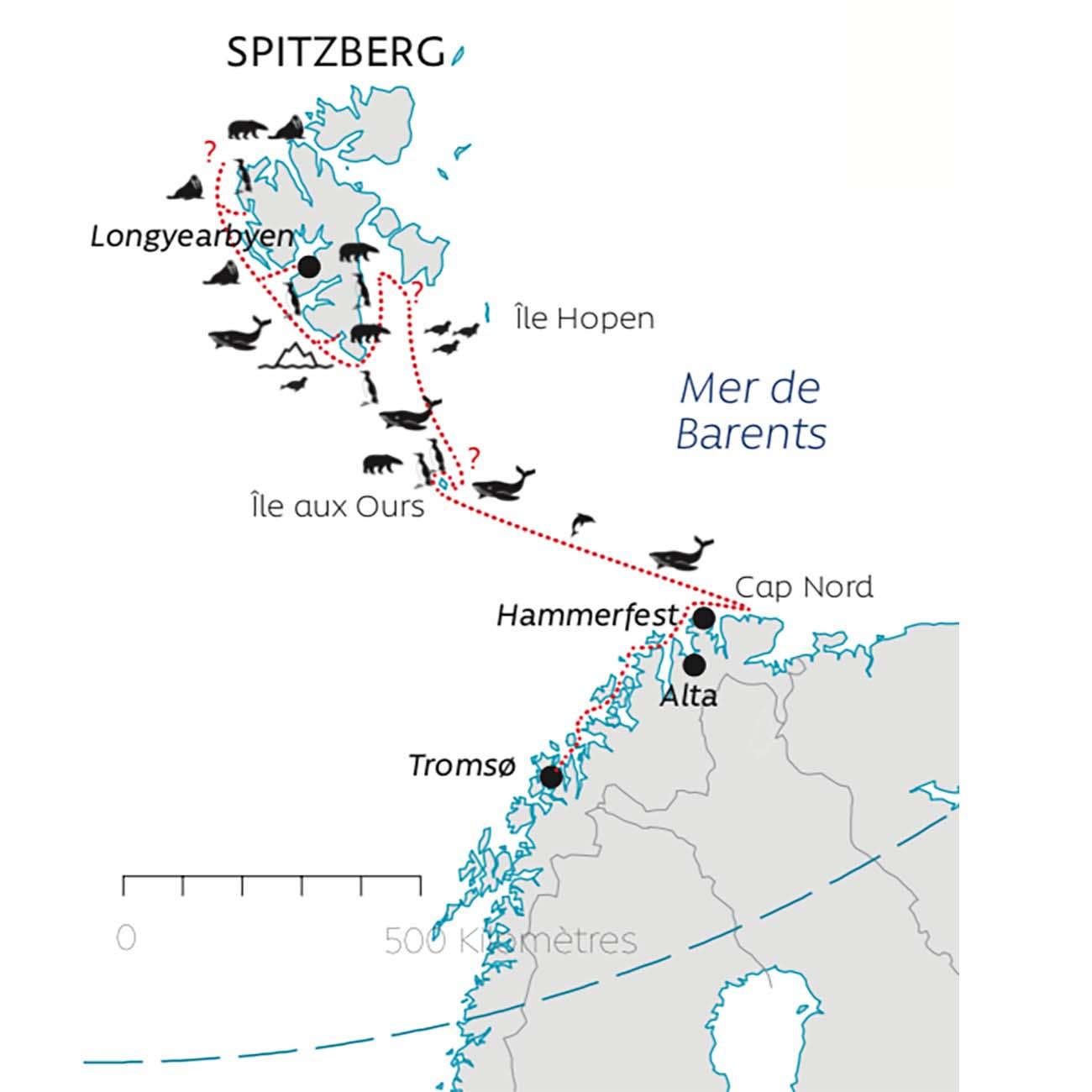 Carte itineraire Cap Nord et Spitzberg